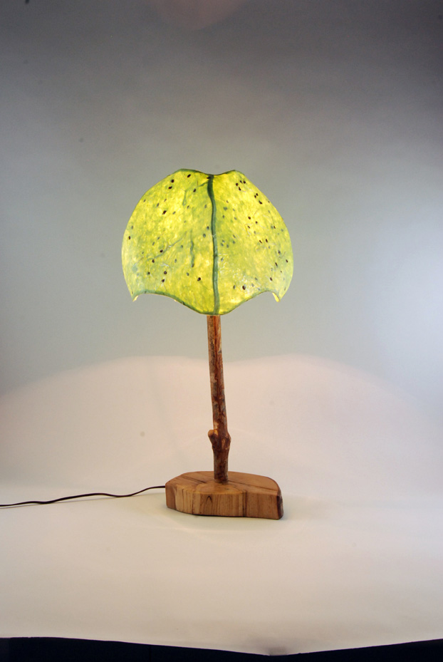 4 panel green table lamp